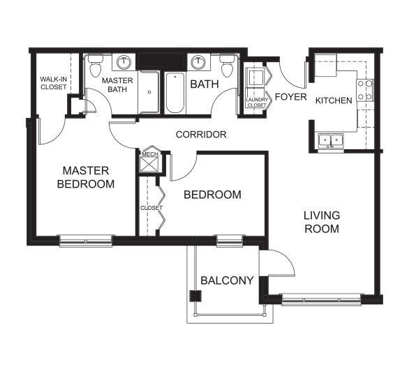 2 Bedrooms / 2 Bathrooms