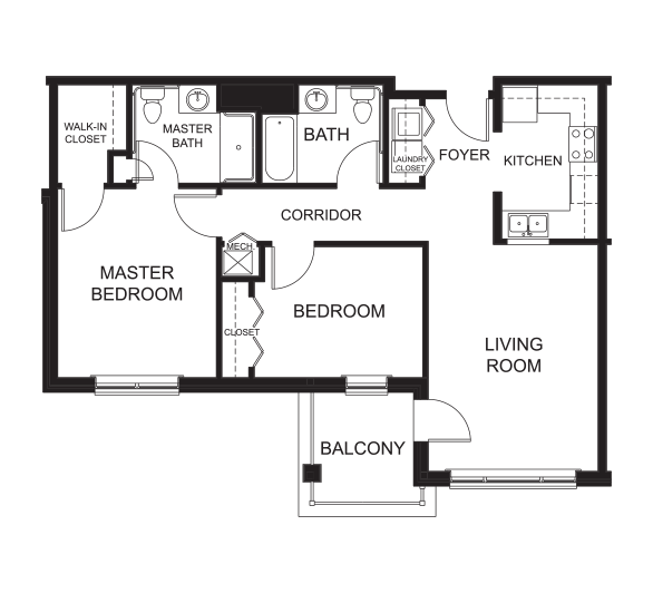2 Bedrooms / 2 Bathrooms